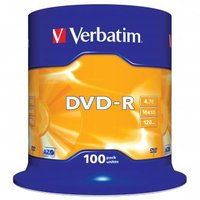 Verbatim DVD-R, 43549, DataLife PLUS, 100-pack, 4.7GB, 16x, 12cm, General, Advanced Azo+, cake box,