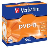 Verbatim DVD-R, 43519, DataLife PLUS, 5-pack, 4.7GB, 16x, 12cm, General, Advanced Azo+, jewel box, S