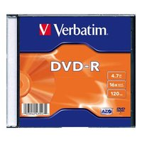 Verbatim DVD-R, 43547, DataLife PLUS, 20-pack, 4.7GB, 16x, 12cm, General, Standard, slim box, Matte
