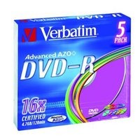 Verbatim DVD-R, 43557, DataLife PLUS, 5-pack, 4.7GB, 16x, 12cm, General, Advanced Azo+, slim box, Co