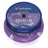 Verbatim DVD+R, 43500, DataLife PLUS, 25-pack, 4.7GB, 16x, 12cm, General, Advanced Azo+, cake box, S
