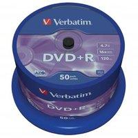 Verbatim DVD+R, 43550, DataLife PLUS, 50-pack, 4.7GB, 16x, 12cm, General, Advanced Azo+, cake box, S