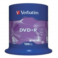 Verbatim DVD+R, 43551, DataLife PLUS, 100-pack, 4.7GB, 16x, 12cm, General, Advanced Azo+, cake box,