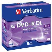 Verbatim DVD+R, 43541, DataLife PLUS, 5-pack, 8.5GB, 8x, 12cm, General, Double Layer, jewel box, Scr