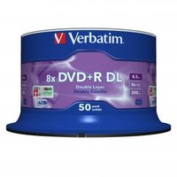 Verbatim DVD+R, 43758, Double Layer, 50-pack, 8.5GB, 8x, 12cm, General, Matt Silver, cake box, pro a