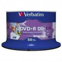 Verbatim DVD+R, 43703, Double Layer, 50-pack, 8.5GB, 8X, 12cm, General, Wide Inkjet Printable, cake