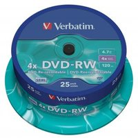 Verbatim DVD-RW, 43639, DataLife PLUS, 25-pack, 4.7GB, 4x, 12cm, General, Serl, cake box, Scratch Re