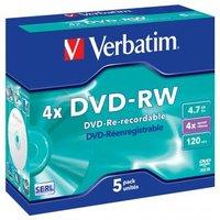Verbatim DVD-RW, 43285, DataLife PLUS, 5-pack, 4.7GB, 4x, 12cm, General, Serl, jewel box, Scratch Re