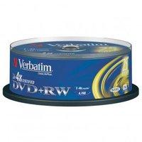 Verbatim DVD+RW, 43489, DataLife PLUS, 25-pack, 4.7GB, 4x, 12cm, General, Standard, cake box, Scratc
