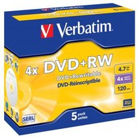 Verbatim DVD+RW, 43229, DataLife PLUS, 5-pack, 4.7GB, 4x, 12cm, General, Standard, jewel box, Scratc