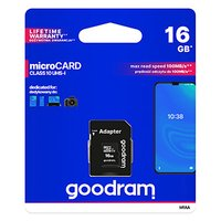 Goodram Micro Secure Digital Card, 16GB, micro SDHC, M1AA-0160R12, UHS-I U1 (Class 10), s adaptérem