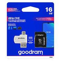 Goodram All-In-ONe, 16GB, multipack, M1A4-0160R12, UHS-I U1 (Class 10), se čtečkou a adaptérem