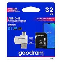 Goodram All-In-ONe, 32GB, multipack, M1A4-0320R12, UHS-I U1 (Class 10), se čtečkou a adaptérem