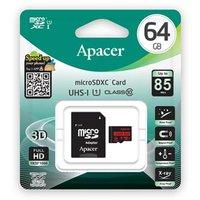 Apacer paměťová karta Secure Digital, 64GB, micro SDXC, AP64GMCSX10U5-R, UHS-I U1 (Class 10), s adap