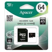 Apacer paměťová karta Secure Digital, 64GB, micro SDXC, AP64GMCSX10U1-R, UHS-I U1 (Class 10), s adap