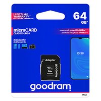 Goodram Micro Secure Digital Card, 64GB, micro SDXC, M1AA-0640R12, UHS-I U1 (Class 10), s adaptérem
