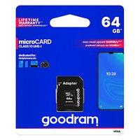 Goodram Micro Secure Digital Card, 64GB, micro SDXC, M1AA-0640R12, UHS-I U1 (Class 10), s adaptérem