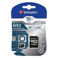 Verbatim paměťová karta micro SDXC, 64GB, SDXC, 47042, UHS-I U1 (Class 10), s adaptérem