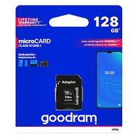 Goodram Micro Secure Digital Card, 128GB, micro SDXC, M1AA-1280R12, UHS-I U1 (Class 10), s adaptérem
