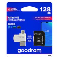 Goodram All-In-ONe, 128GB, multipack, M1A4-1280R12, UHS-I U1 (Class 10), se čtečkou a adaptérem
