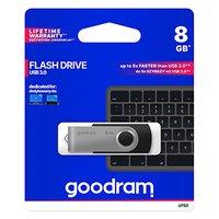 Goodram USB flash disk, USB 3.0 (3.2 Gen 1), 8GB, UTS3, černý, UTS3-0080K0R11, USB A, s otočnou kryt