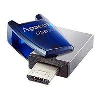 Apacer USB flash disk OTG, USB 3.0 (3.2 Gen 1), 64GB, AH179, modrý, AP64GAH179U-1, USB A / USB Micro