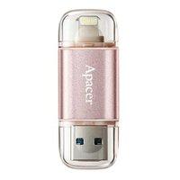 Apacer USB flash disk OTG, 3.1/Lightning, 64GB, AH190, růžový, AP64GAH190H-1, s krytkou