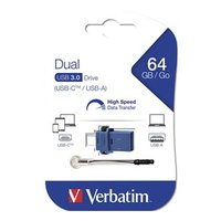 Verbatim USB flash disk OTG, 3.0/3.0 Typ C, 64GB, modrý, 49967, šňůrkou přivázaný uzávěr USB 3.0/USB