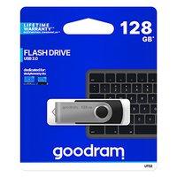 Goodram USB flash disk, USB 2.0, 128GB, UTS2, černý, UTS2-1280K0R11, USB A, s otočnou krytkou