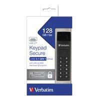 Verbatim USB flash disk, 3.0 / 3.1 Gen 1, 128GB, Keypad Secure, černý, 49432, 256bitové hardwarové š