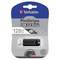 Verbatim USB flash disk, USB 3.0 (3.2 Gen 1), 128GB, PinStripe, Store N Go, černý, 49319, USB A, s v