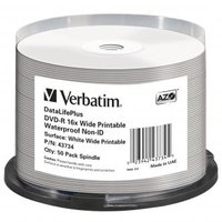 Verbatim DVD-R, 43734, Waterproof, 50-pack, 4.7GB, 16x, 12cm, General, Standard, cake box, Wide Prin