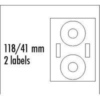 Logo etikety na CD 118/41mm, A4, matné, bílé, 2 etikety, 2 proužky, 140g/m2, baleno po 10 ks, pro in