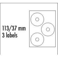 Logo etikety na CD 113/37mm, A4, matné, bílé, 3 etikety, 140g/m2, baleno po 10 ks, pro inkoustové a