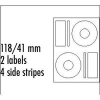 Logo etikety na CD 118/41mm, A4, matné, bílé, 2 etikety, 4 proužky, 140g/m2, baleno po 10 ks, pro in