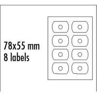 Logo etikety na CD 78mm x 55mm, A4, matné, bílé, 8 etiket, CD-R card, 140g/m2, baleno po 10 ks, pro