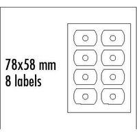 Logo etikety na CD 78mm x 58mm, A4, matné, bílé, 8 etiket, CD-R card, 140g/m2, baleno po 25 ks, pro