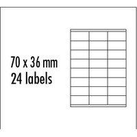 Logo etikety 70mm x 36mm, A4, matné, červené, 24 etikety, baleno po 10 ks, pro inkoustové a laserové