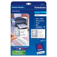 Avery Zweckform vizitky, matné, bílé, A4, 200 g/m2, 85x54mm, 10 listů, pro laserové a inkoustové tis