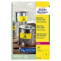 Avery Zweckform etikety 210mm x 297mm, A4, žluté, 1 etiket, velmi odolné, baleno po 20 ks, L6111-20,