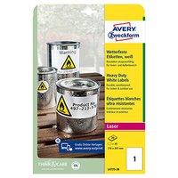 Avery Zweckform etikety 210mm x 297mm, A4, bílé, 1 etiketa, velmi odolné, baleno po 20 ks, L4775-20,