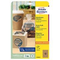 Avery Zweckform etikety 60mm, A4, přírodně hnědé, 12 etiket, baleno po 25 ks, L7106-25, pro laserové