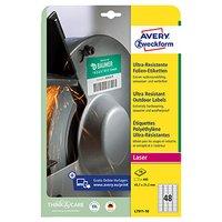 Avery Zweckform etikety 45.7mm x 21.2mm, A4, bílé, 48 etiket, velmi odolné, baleno po 10 ks, L7911-1