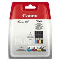 Canon CLI-551 multipack (CMYK) + PP-201 fotopapír 50x, foto papír, lesklý, bílý, 10x15cm, 4x6&qu
