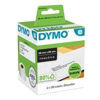Dymo papírové štítky 89mm x 28mm, bílé, adresní, 2X130 ks, 99010, S0722370