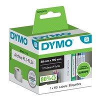 Dymo papírové štítky 190mm x 38mm, bílé, na úzké pořadače, 110 ks, 99018, S0722470