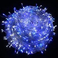 LED osvětlení, řetěz, 10m, 220-240 V (50-60Hz), 6W, modrá, transparentní kabel, 30000h, 100xLED