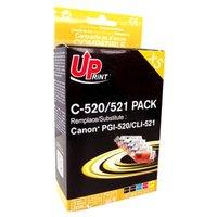 UPrint kompatibilní ink s CLI521, 2xblack/1xcyan/1xmagenta/1xyellow, C-520/521 PACK, s čipem, pro Ca