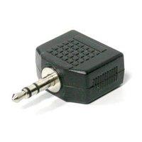 Rozdvojka, Audio, Jack (3,5mm) 2x F-Jack (3,5mm) M, 0, stereo, černá