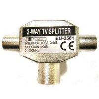 TV Rozbočovač, Anténní, Koax 2x M-Koax (9,5mm) F, 0, stříbrná, kovový